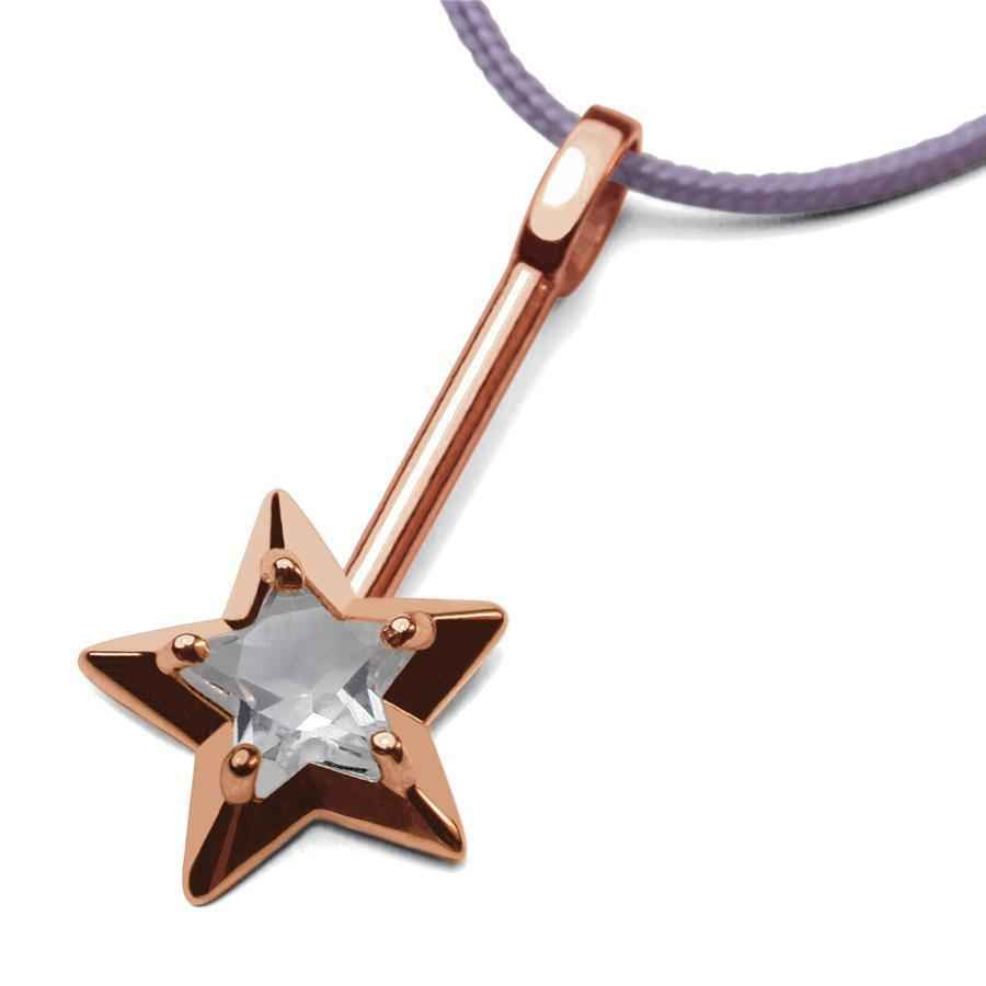 Photo de Pendentif Abracadabra cristal de roche - Or rose 18ct