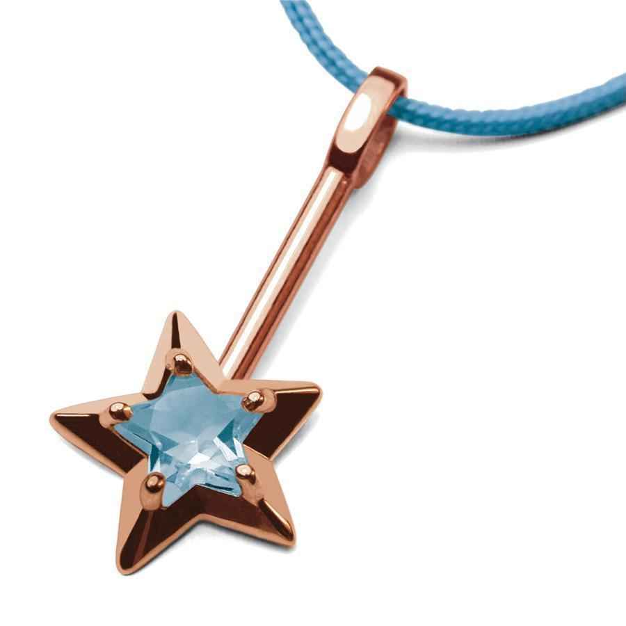 Photo de Pendentif Abracadabra topaze bleue - Or rose 18ct