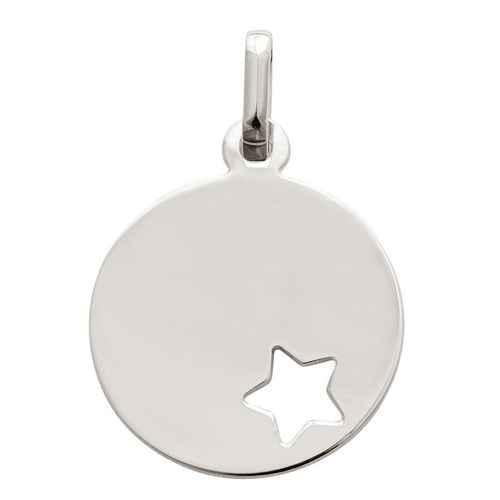 Photo de Médaille étoile ajourée - Or blanc 9ct