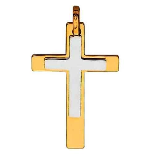 Photo de Croix bicolore personnalisée - Or jaune et blanc 18ct