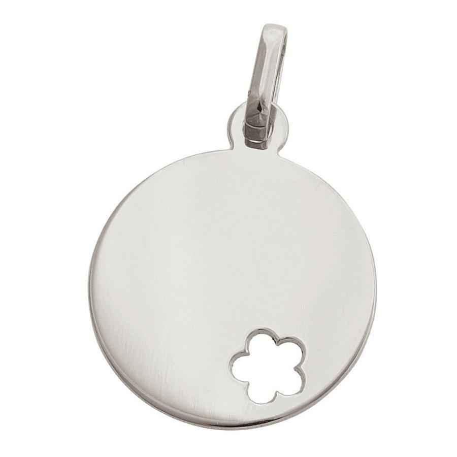 Photo de Médaille fleur ajourée - Or blanc 9ct