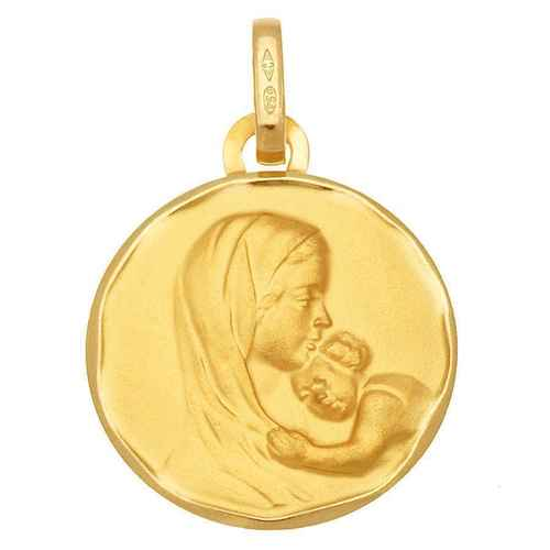 Photo de Médaille Vierge à l'enfant tendresse - Or jaune 18ct