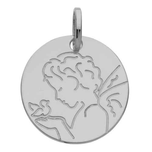 Photo de Médaille Ange à l'oiseau - Or blanc 9ct