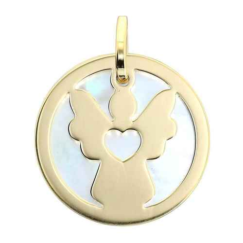 Photo de Médaille Ange coeur - Or jaune 18ct & nacre