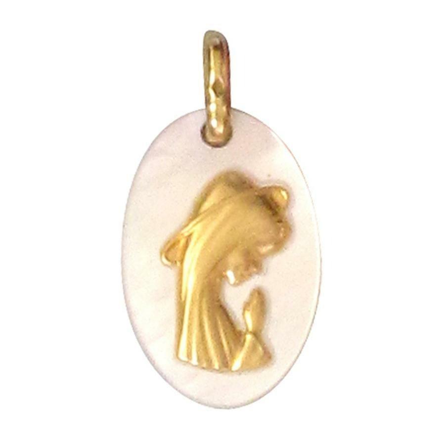 Photo de Médaille Vierge auréolée - Or jaune 18ct & nacre