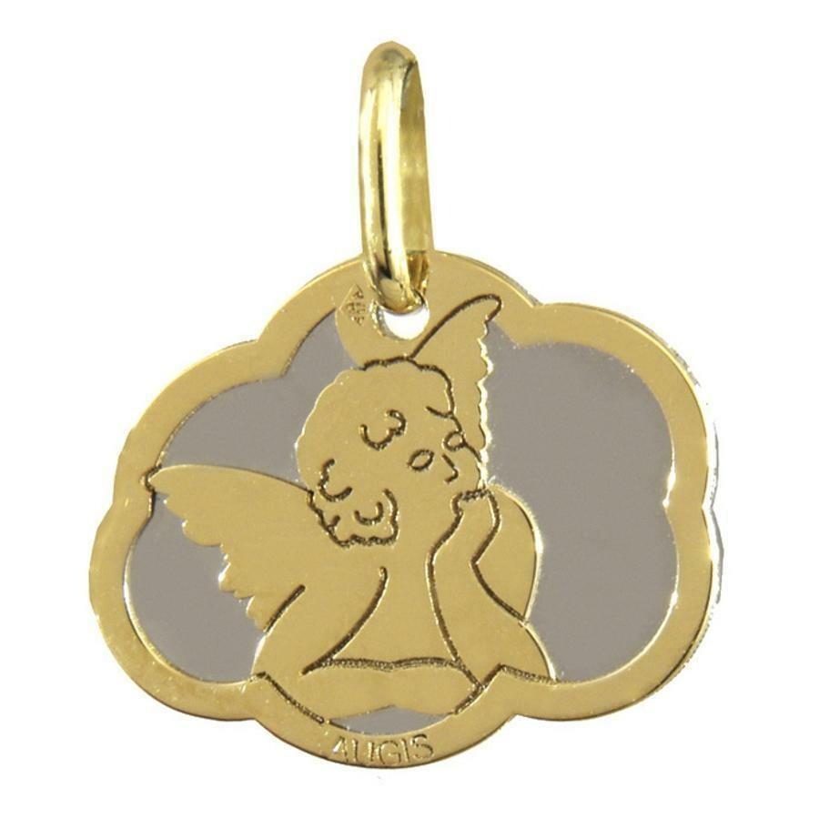 Photo de Médaille Ange nuage - Or jaune 18ct et acier