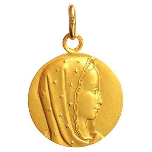 Photo de Médaille Vierge au voile étoilé - Or jaune 9ct
