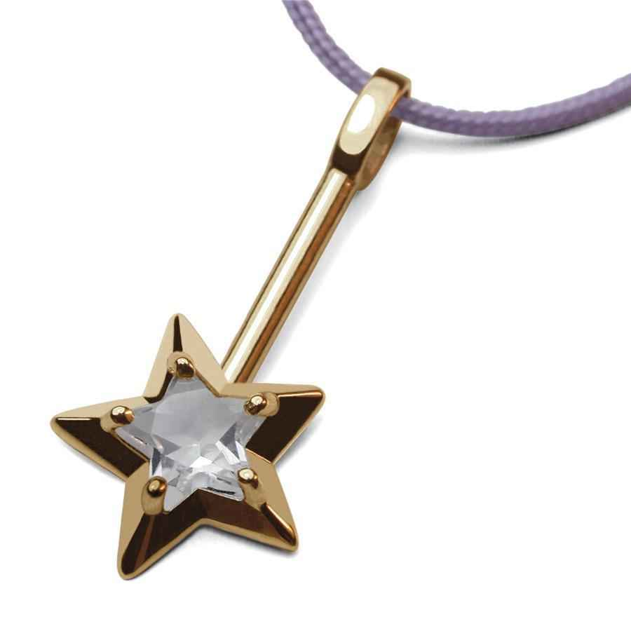 Photo de Pendentif Abracadabra cristal de roche - Or jaune 18ct