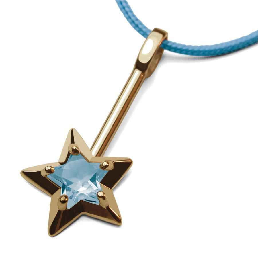Photo de Pendentif Abracadabra topaze bleue - Or jaune 18ct