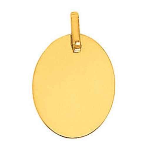 Photo de Pendentif plaque ovale - Or jaune 18ct