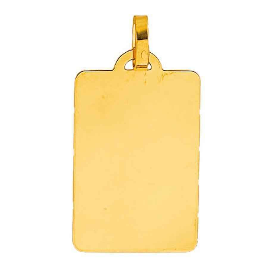 Photo de Pendentif grande plaque rectangle - Or jaune 18ct