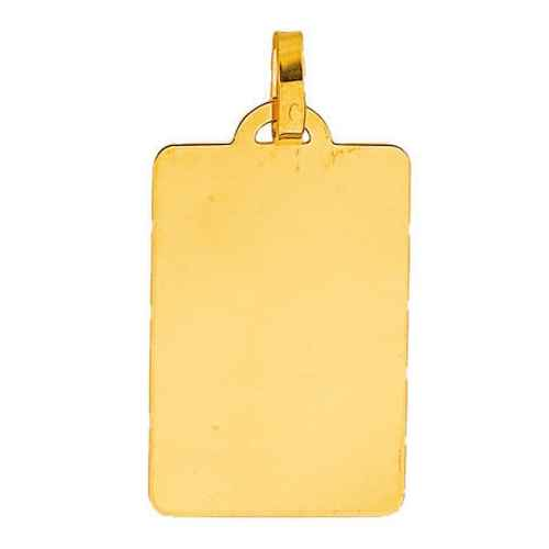 Photo de Pendentif grande plaque rectangle - Or jaune 18ct