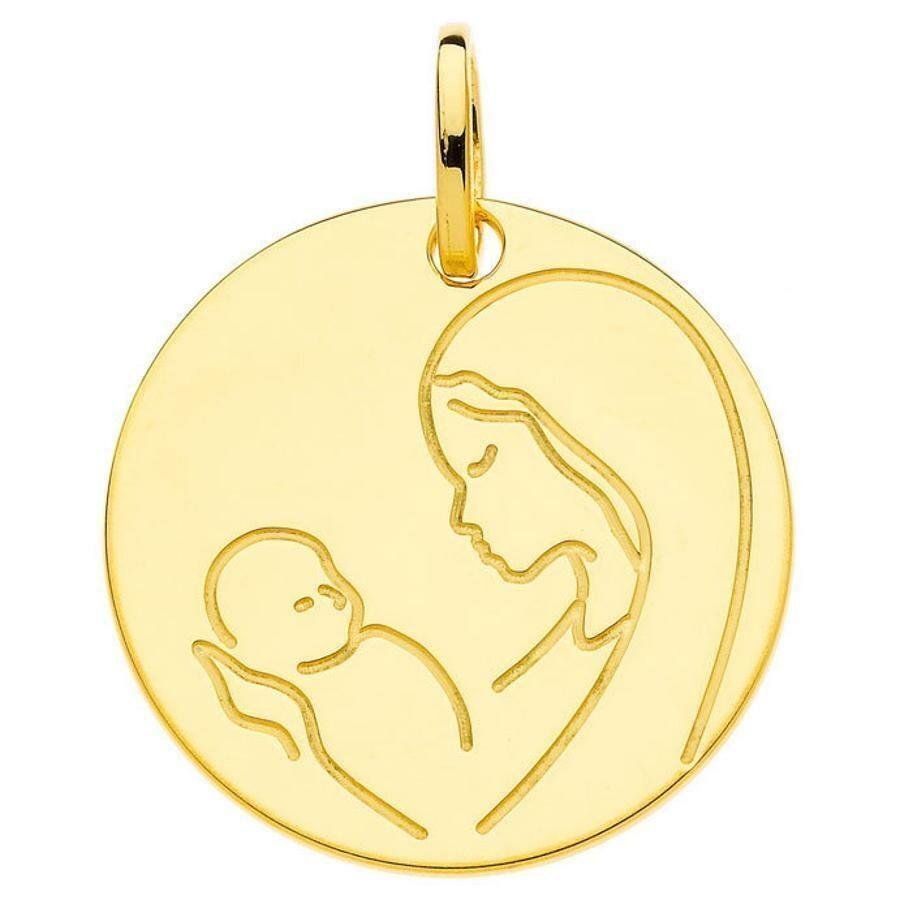 Photo de Médaille Vierge à l'enfant - Or jaune 9ct