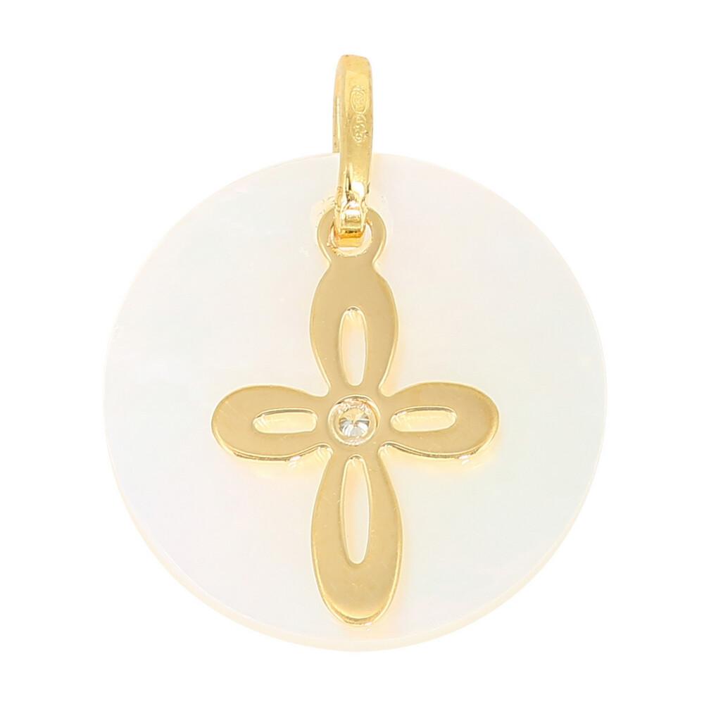 Photo de Médaille croix - diamant, or jaune 18ct & nacre