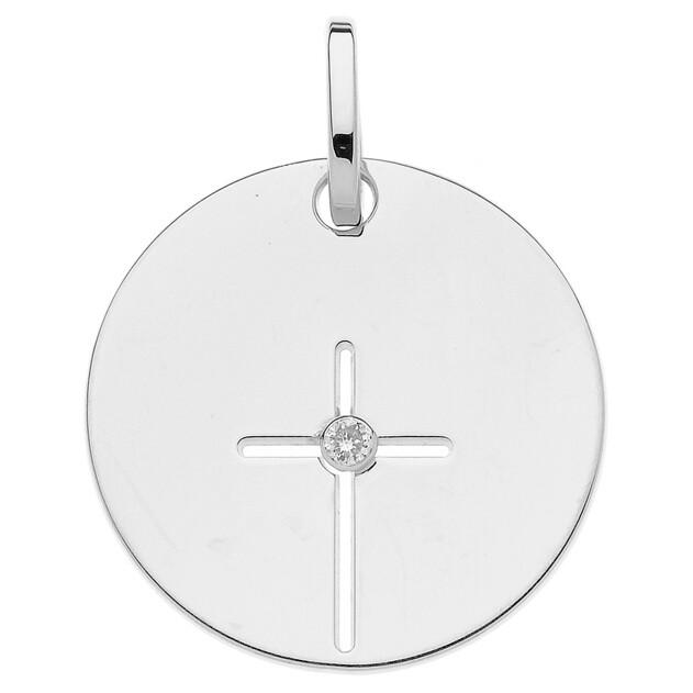 Photo de Médaille croix - diamant & or blanc 9ct