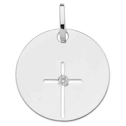 Photo de Médaille croix - diamant & or blanc 9ct