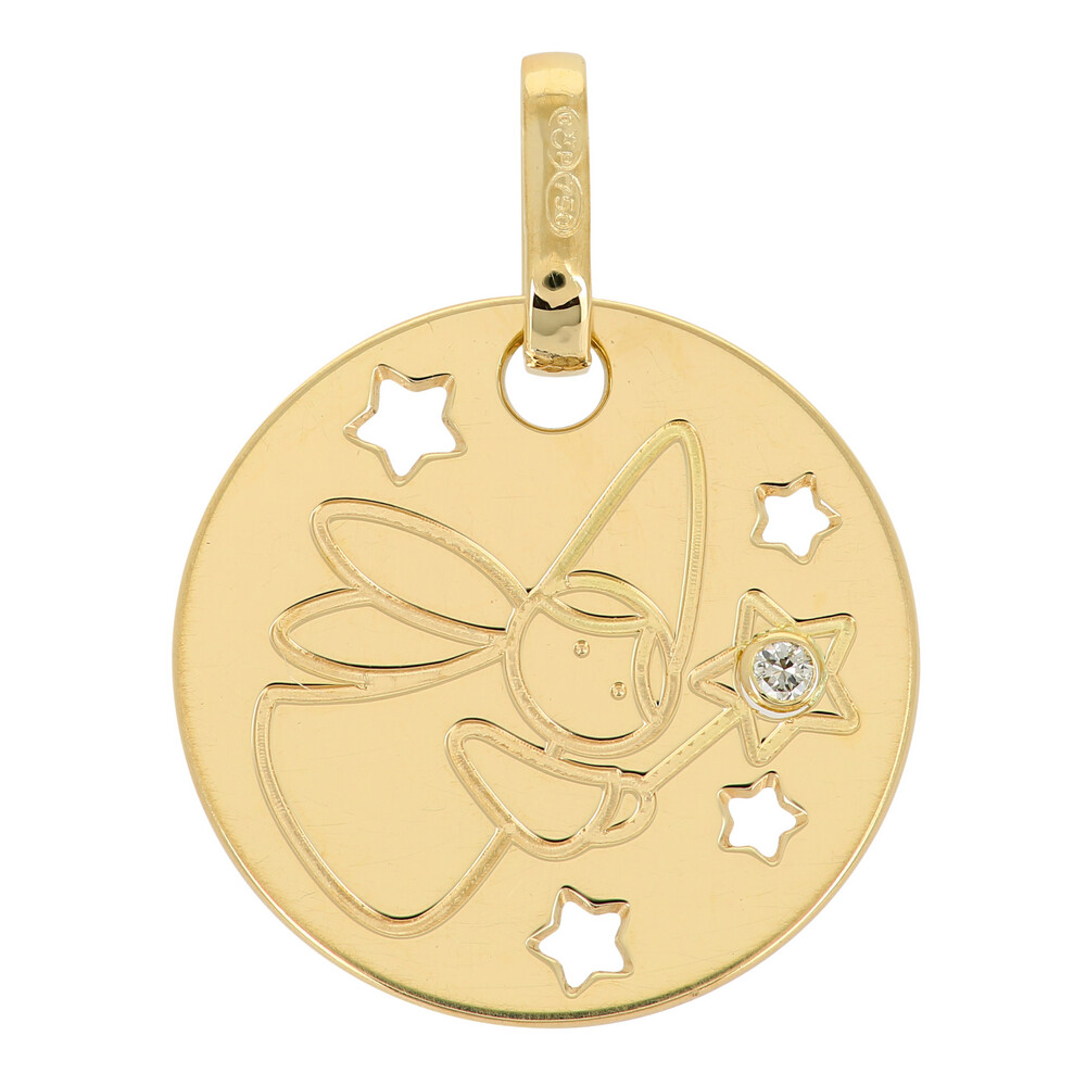 Photo de Médaille Fée - diamant & or jaune 18ct