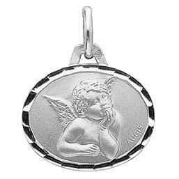 Photo de Médaille Ange Raphaël ovale - Or blanc 18ct
