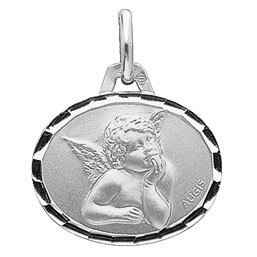 Photo de Médaille Ange Raphaël ovale - Or blanc 18ct