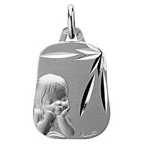 Photo de Médaille laïque enfant rêveur - Or blanc 18ct