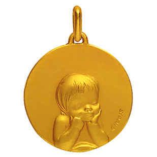Photo de Médaille laïque enfant rêveur - Or jaune 18ct