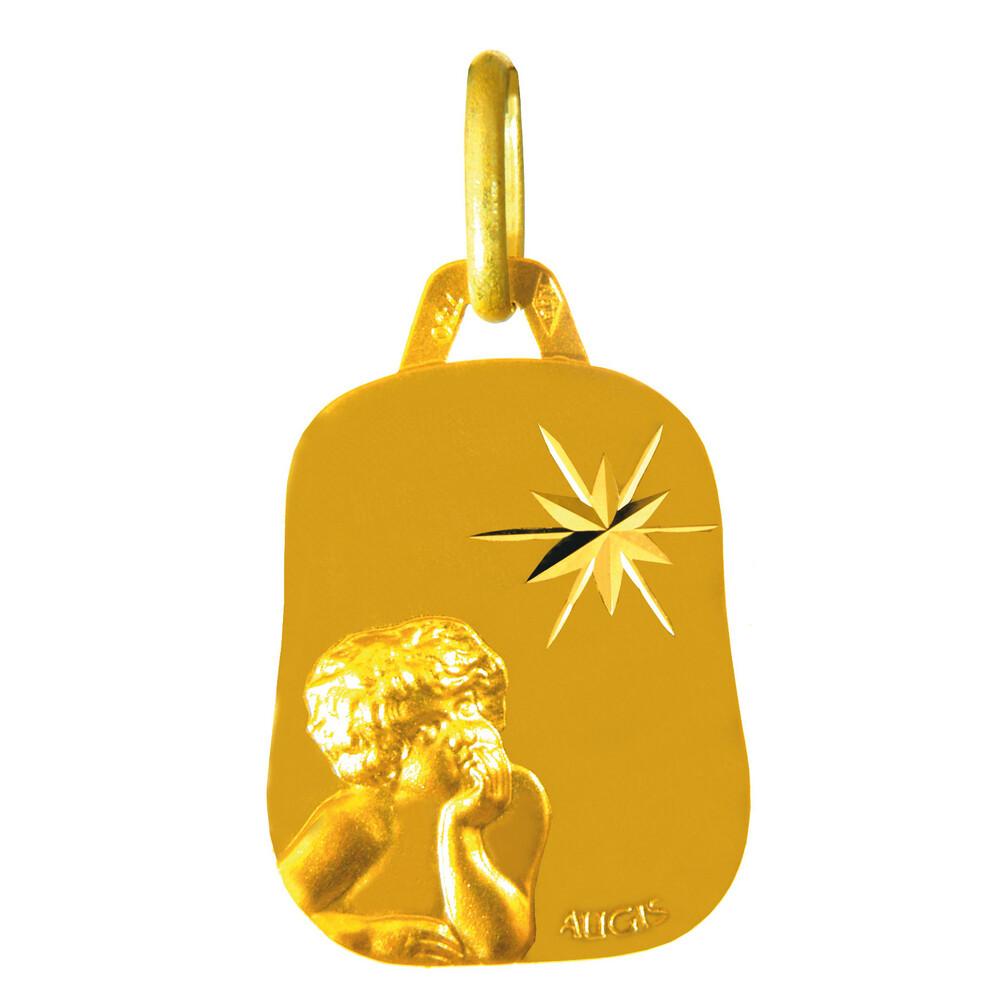 Photo de Médaille laïque enfant rêveur étoilé - Or jaune 18ct