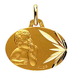 Photo de Médaille laïque enfant rêveur ovale - Or jaune 18ct