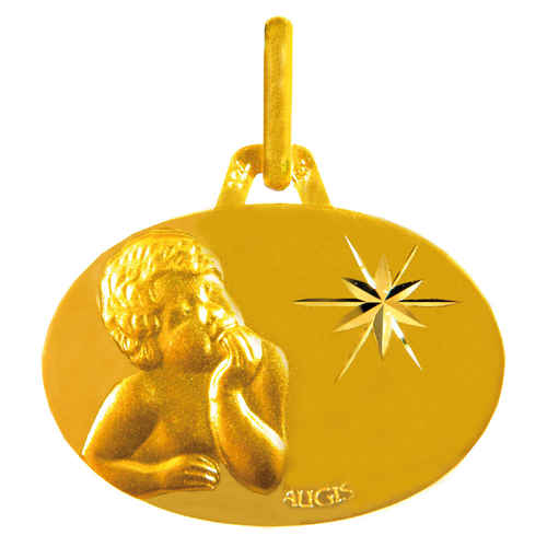 Photo de Médaille Enfant pensif - Or jaune 18ct