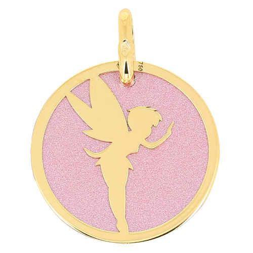Photo de Médaille Fée - Or jaune 18ct et acier