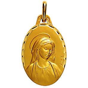 Photo de Médaille Vierge ovale facetée - Or jaune 18ct