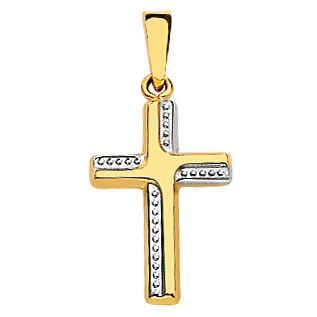 Photo de Croix bicolore bords perles - Or jaune et blanc 18ct