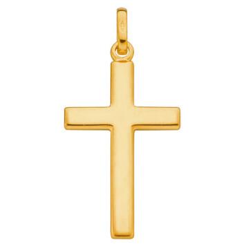 Photo de Croix fil plat personnalisée - Or jaune 9ct