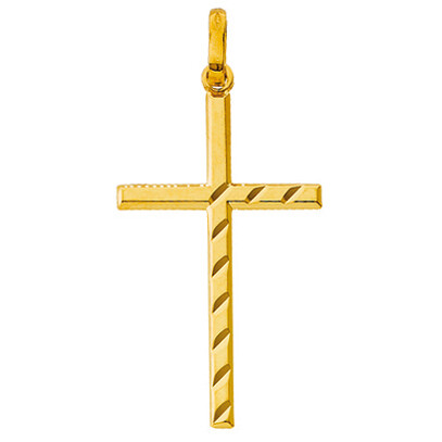 Photo de Croix plate et diamantée - Or jaune 9ct