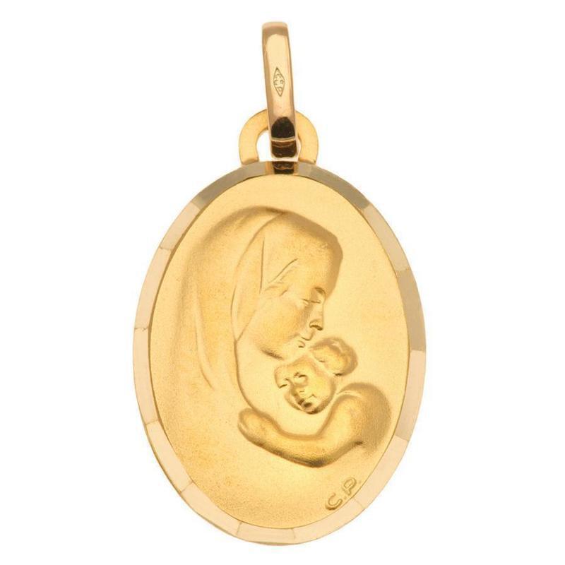 Photo de Médaille Vierge douce étreinte - Or jaune 9ct