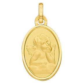 Photo de Médaille Ange ovale - Or jaune 18ct
