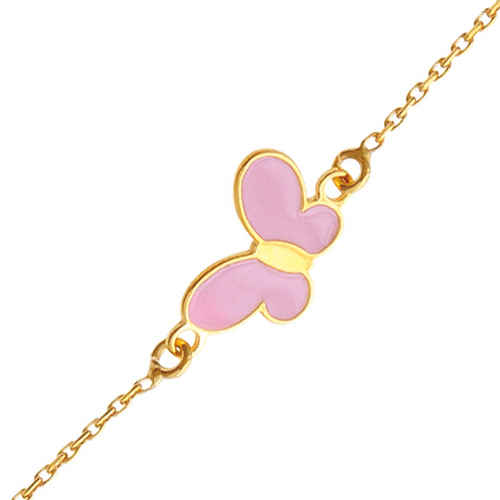 Photo de Bracelet Papillon rose - Or jaune 9ct