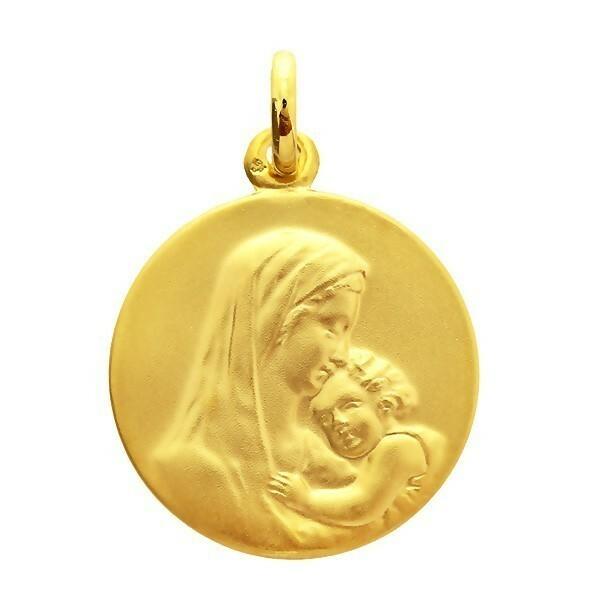 Photo de Médaille Vierge à l'enfant - Or jaune 18ct