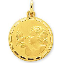 Photo de Médaille Ange à l'oiseau - Or jaune 18ct
