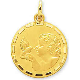 Photo de Médaille Ange à l'oiseau - Or jaune 18ct