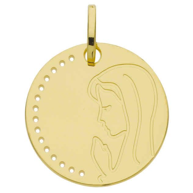 Photo de Médaille Vierge en prière ajourée - Or jaune 9ct