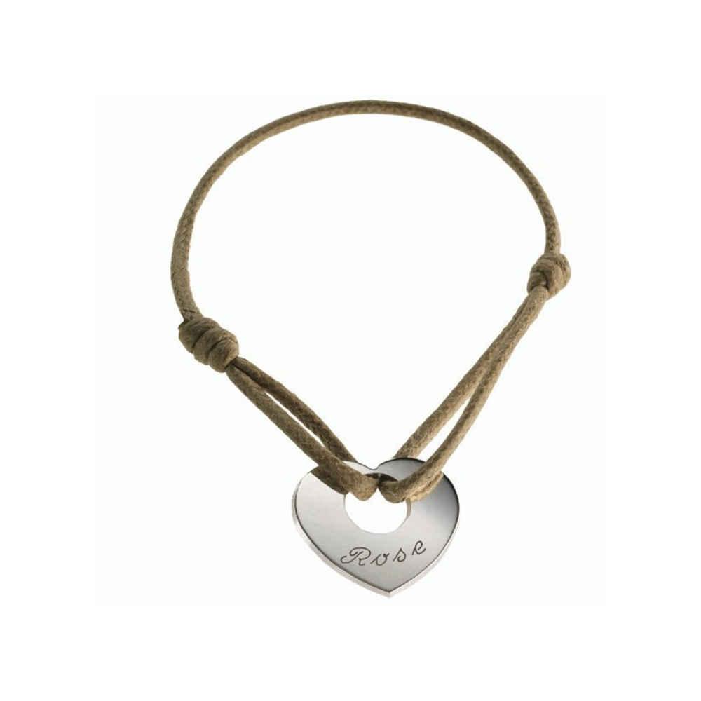 Photo de Bracelet A Coeur de Peau - Argent massif