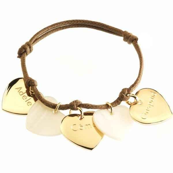 Photo de Bracelet Petits Coeurs - plaqué or & nacre