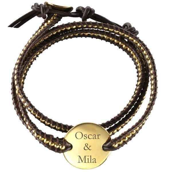 Photo de Bracelet Indian Marron Small - plaqué or