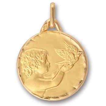 Photo de Médaille Ange aux oiseaux - Or jaune 9ct