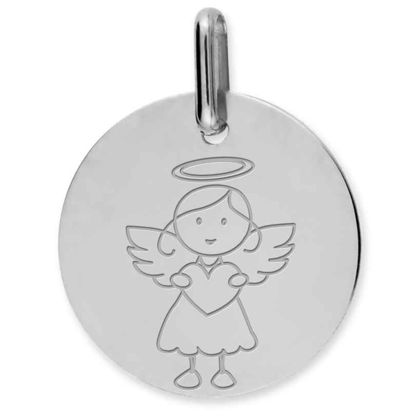 Photo de Médaille Ange fille au coeur - Or blanc 9ct