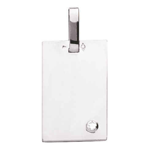 Photo de Pendentif plaque rectangle - diamant & or blanc 18ct
