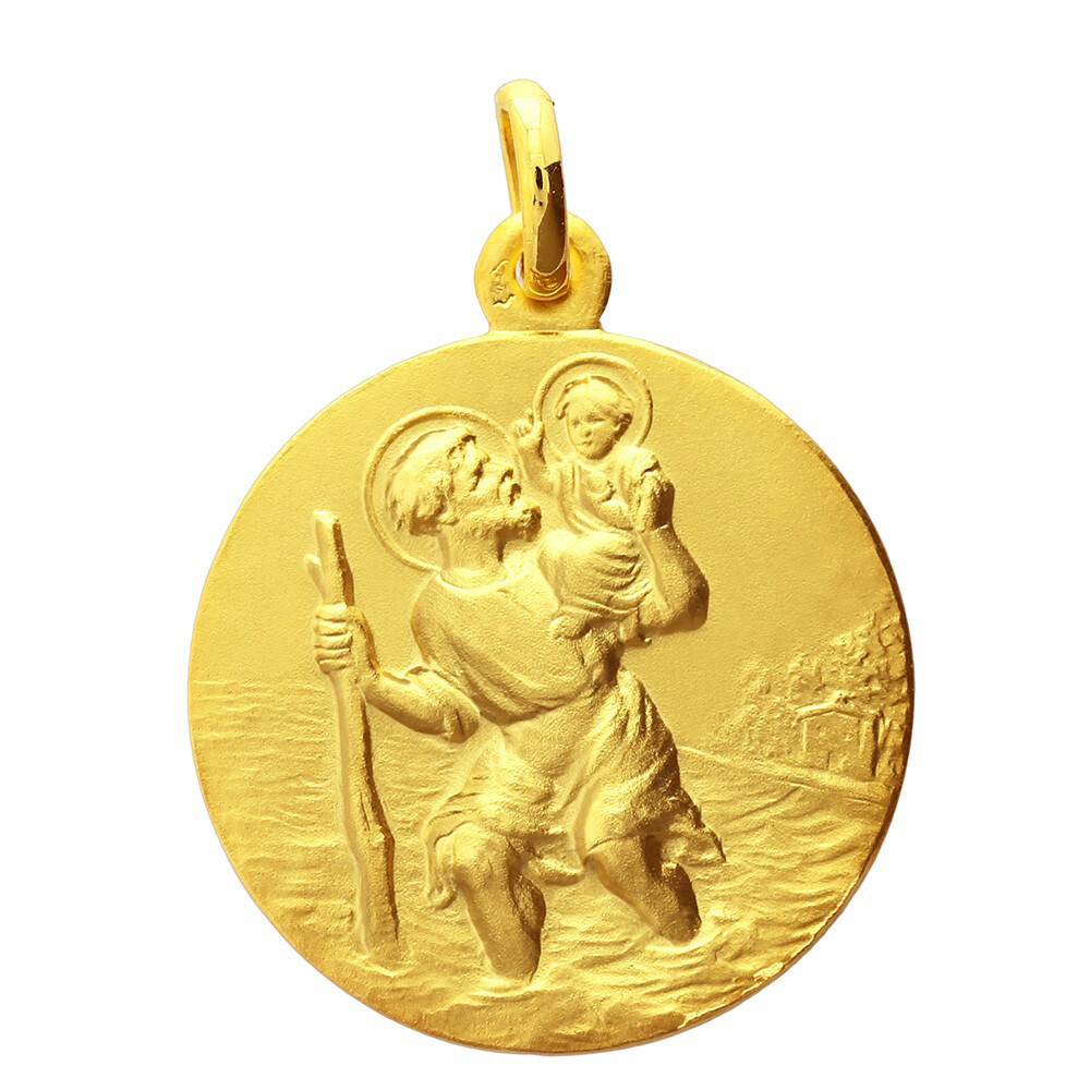 Photo de Médaille Saint Christophe ronde - Or jaune 18ct