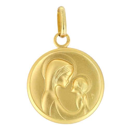 Photo de Médaille Vierge message maternel - Or jaune 18ct