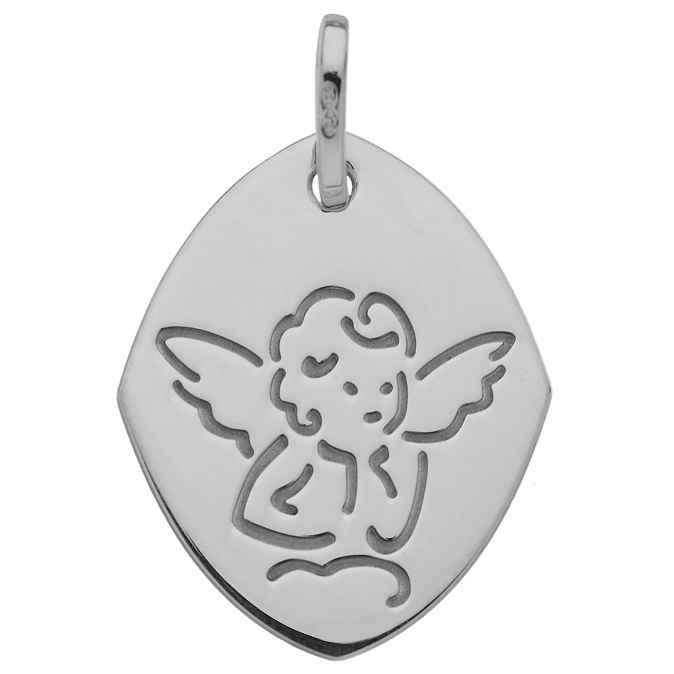 Photo de Médaille Ange losange - Or blanc 18ct