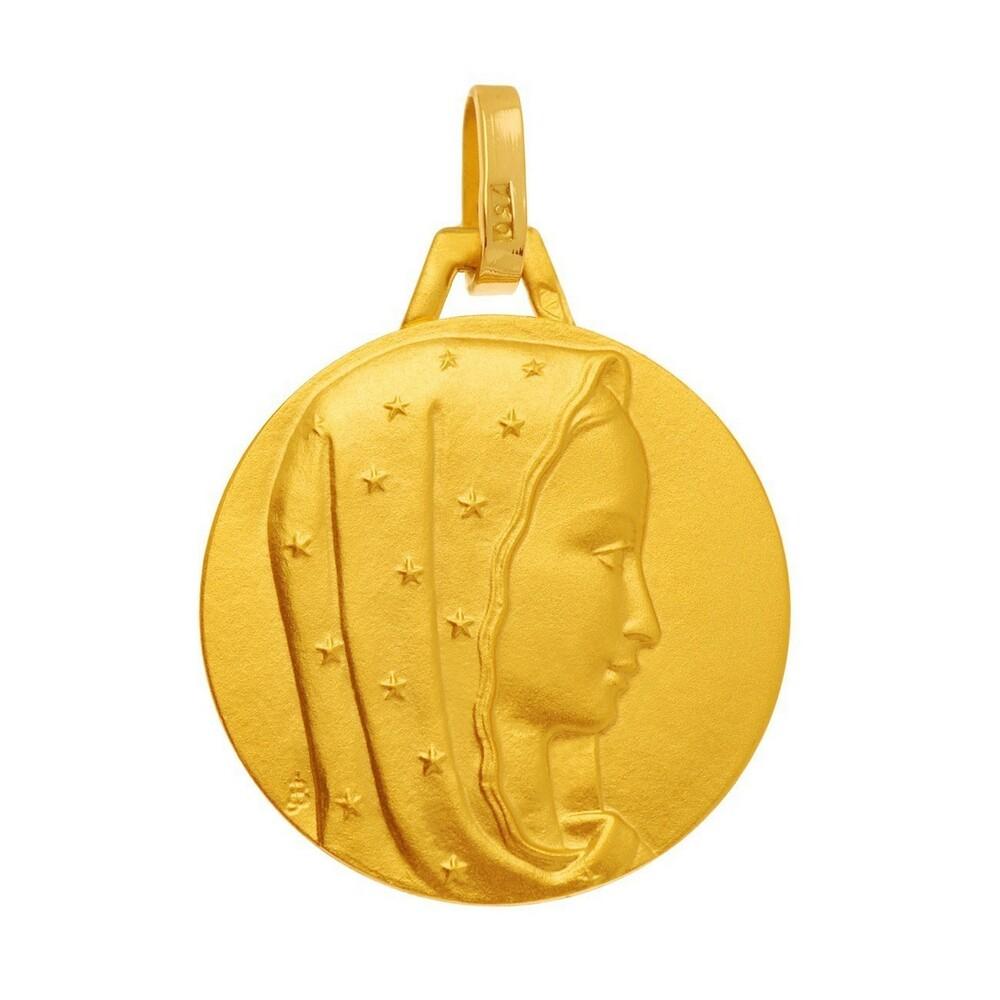 Photo de Médaille Vierge au voile étoilé - Or jaune 18ct